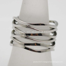 Wave Pattern en argent massif Bohemia en acier inoxydable large anneau à doigts creux