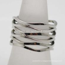 Волнообразный узор Посеребренная нержавеющая сталь Богемия Женщины Широкое полое кольцо палец