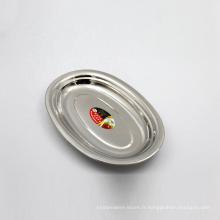 plateau ovale de plateau de nourriture d'acier inoxydable de grande taille de l'argent 16inch pour le restaurant