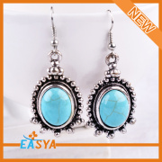 Fashion Cheap Blue Stone Antique Silver Plating Zinc Alloy Earrings