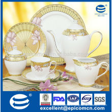 luxury chinaware tea set with grace gold and floral decals
