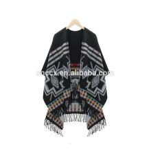 15PKCP05 2016 mais recente moda Lady tecido acrílico poncho de capa de impressão asteca
