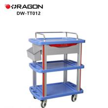 Mesa de plástico de engenharia com carrinho de vidro macio embutido para equipamentos médicos