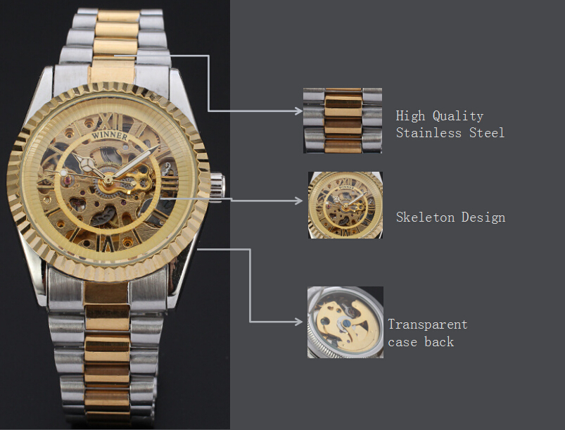 fashion winner skeleton design mechanical watch with hign quality stainless steel band
