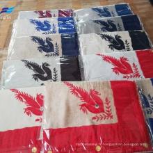 Tissu carré d'écharpe de l'homme de polyester de laine de broderie faite sur commande