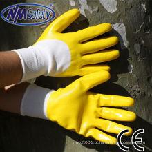NMSAFETY 13 calibre luvas de malha de poliéster resistente ao óleo luvas de nitrilo amarelo / reparação luvas de trabalho da máquina