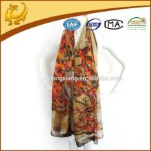 Womens Tree Print Soft Silk Material Wraps Stole Factory en gros Chiffon Shawl