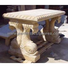 Esculpido pedra mármore tabela bancada para decoração de jardim antigo (qtb022)