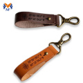 Leather keychain strap with coordinates