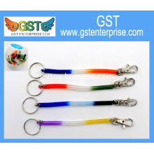Rainbow Tri-color Spring Coil Keychain with Clip