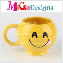 Hoher qualitäts-kundenspezifischer Förderung-Lächeln-Gesichts-Keramik-Becher