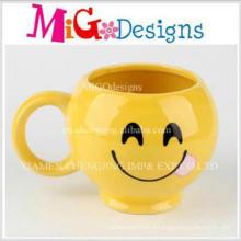 Taza de cerámica por encargo de alta calidad de la cara de la sonrisa de la promoción