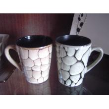 Taza de gres con textura pintada taza