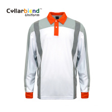 Camisa polo personalizada reflexiva Quick Dry White Hi Vis
