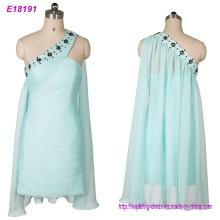 Fabricação de roupas um vestido de noite de ombro vestido de noite curto atacado