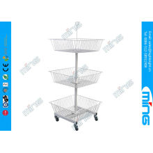 Metal Powder Coated Wire Display Stands With 3 Basket , White