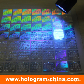 Etiqueta engomada olográfica ULTRAVIOLETA de la seguridad laser