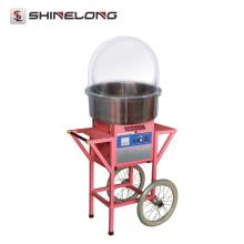 Máquina expendedora del caramelo de algodón de la vida fuerte del acero inoxidable con el carro