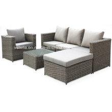 4 pedaço ao ar livre vime sofá de vime seto conjunto de móveis