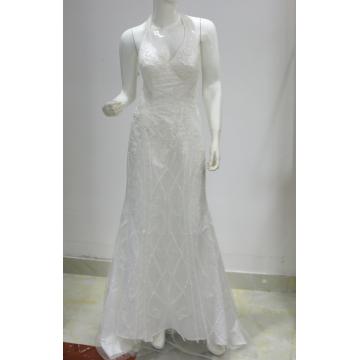 Weiße Pailletten Perlen Halfter Hals Meerjungfrau Hochzeitskleid