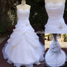Exquisite 2014 Long A-Line Organza Wedding Dress With Pick-up Skirt Sweetheart Pleated Top Beaded Lace-up Bridal Gown NB0771