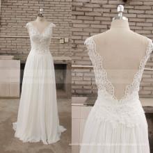 Sightly V-cuello Backless Lace Chiffon Beach vestido de boda de Bohemia