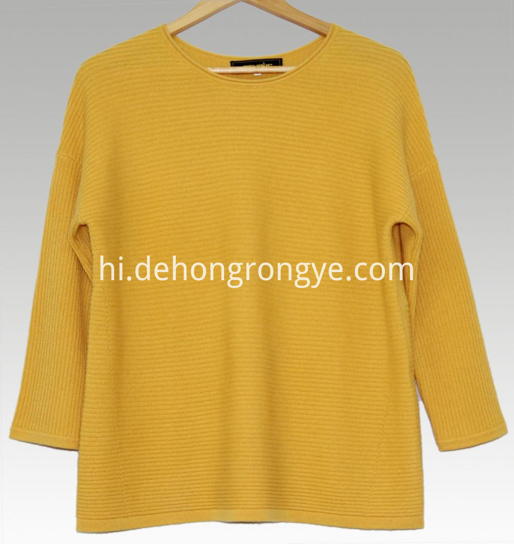 Yellow Round Neck Loose Cashmere Sweater