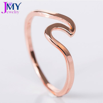 bague en forme de vague unisexe en or rose simple