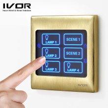 Interrupteur mural Ivor Smart Home à écran tactile avec commande maître / télécommande
