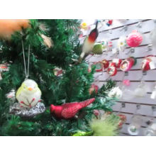 Adornos navideños colgantes navideños de cristal pájaros