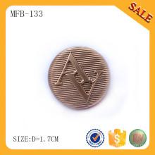 MFB133 Art und Weisemetallknopfabzeichenlogo, Gold, das Metallschaftknopf für Kleidung bildet