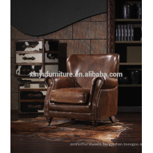 American style Antique full real leather armchair,single seater sofa chairs A605                                                                         Quality Choice