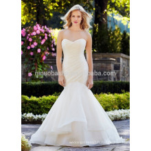 NA1019 Fashion Mermaid Sweetheart Plissé Organza Backless Livraison gratuite Robe de mariage 2015