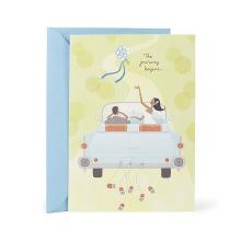 Invitación de boda de caoba del lanzamiento del ramo de la boda, tarjeta blanca de la invitación de la boda