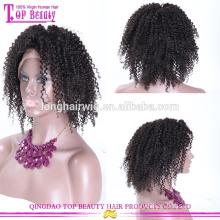 En gros perruque de célébrité indienne remy bouclés dentelle avant perruque de cheveux humains courts perruques
