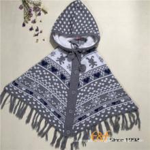 Manteau tricoté à capuchon de Noël de mantelet de gilet adapté aux besoins du client avec des glands