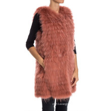 Red Bean Color Long Style Knitted Raccoon Fur Vest For Girl