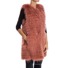 Red Bean Cor Estilo Longo Knitted Raccoon Fur Vest For Girl