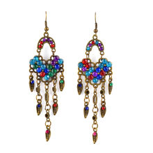 Colorful Resin Stone with Diamond Earrings (XJW1659)
