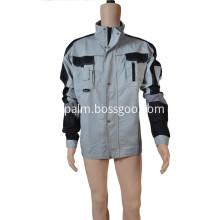 Gray/Black Polyester Cotton Jacket