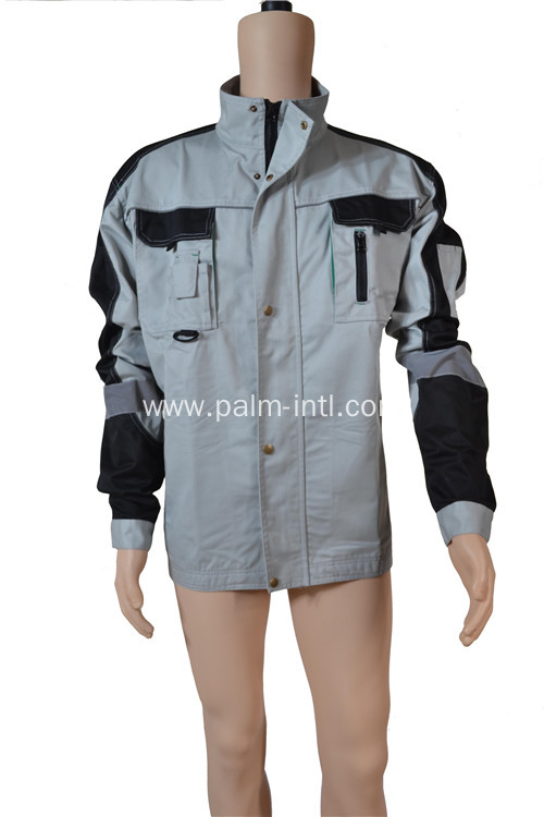 Gray/Black Polyester Cotton Jacket