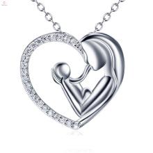 Coração mãe dia mãe e criança pingente de prata esterlina S925 colar de jóias