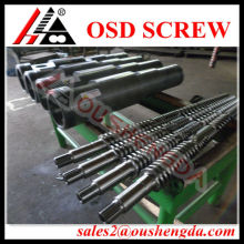 Extrusion twin screw barrel for plastic profile extrusion line