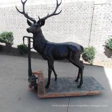 escultura de jardín moderno estatua de bronce de ciervos de bronce de metal
