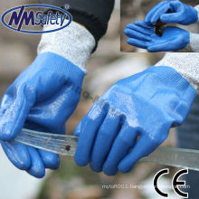 NMSAFETY cut resistant level 5 glove China wholesale nitrile hand glove