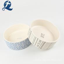 Neu Ankunft gedruckt tragbare Keramik Haustier Wasser füttern Hundefutter Schüssel