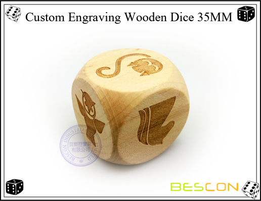 Custom Engraving Wooden Dice 35MM