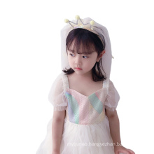 Yarn Crown Headband Long Veil Luxury Hair Accessories Korean Handmade Princess Birthday Hairband Rhinestone Sweet For Women Girl