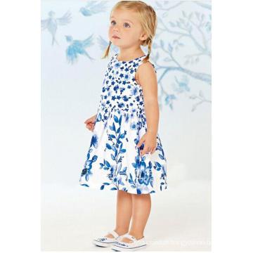 Moda vestido de bebê flor em Froks com impressão de transferência