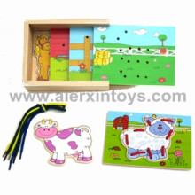 Wooden Lacing Toy with Farm Animals (81235)
